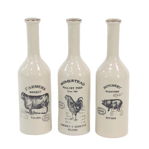 White Porcelain Farmhouse Vase (Set of 3)