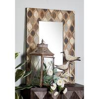 Rustic Rectangular Wood and Glass Wall Mirror - Multi