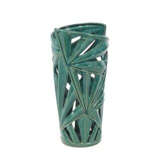 Havenside Home Buckroe Natural Pierced Ceramic Leaf Vase (16'' x 8'')