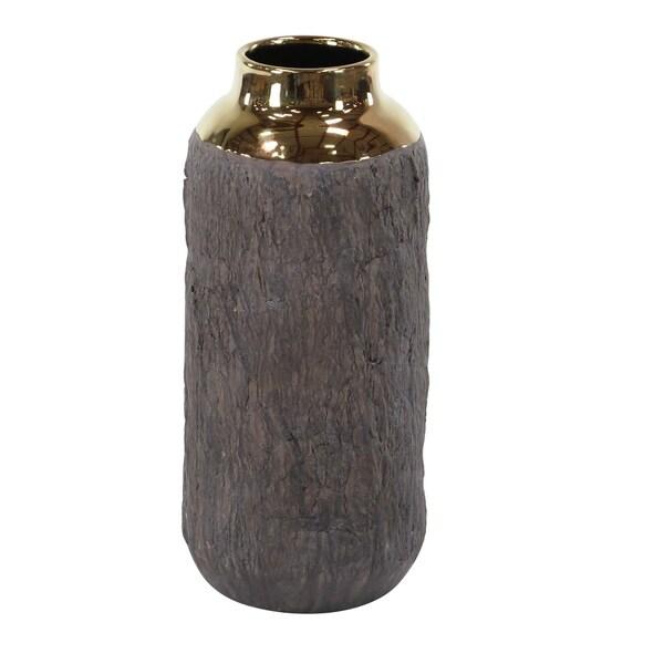 Carson Carrington Alavus 16 inch Natural Tree Bark Ceramic Vase with Gold Accent