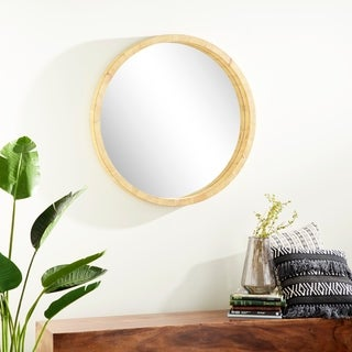 Studio 350 Brown Wooden 32-inch Round Rustic Wall Mirror