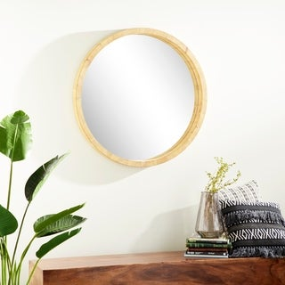 Rustic 40 Inch Round Brown Wooden Framed Wall Mirror by Studio 350