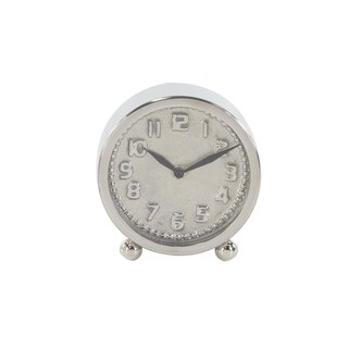 6 inch Modern Round Silver Stainless Steel Table Clock