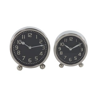Set of 2 Modern Silver Stainless Steel Round Table Clocks