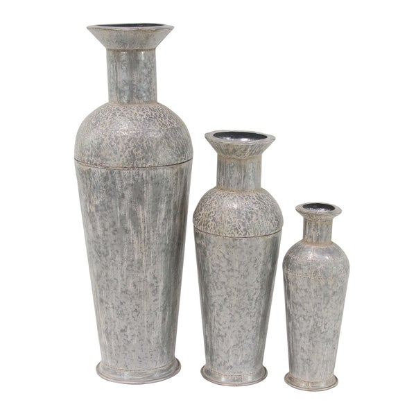 Shop Set Of 3 Contemporary Iron Spouted Gray Vases On Sale Free