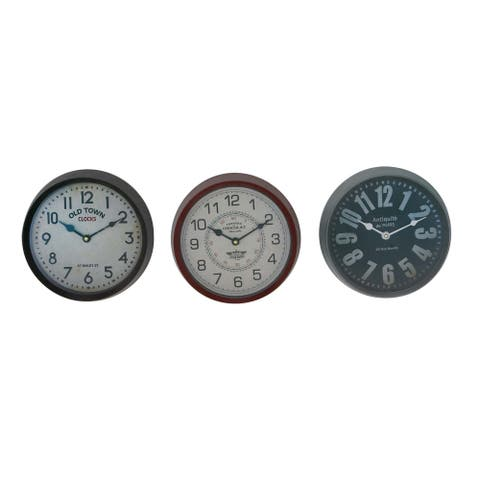 Porch & Den Merrie Lynn Traditional Analog Wall Clocks (Set of 3)