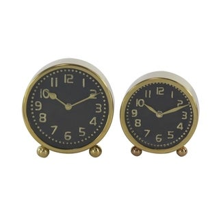 Set of 2 Modern Gold Stainless Steel Round Table Clocks