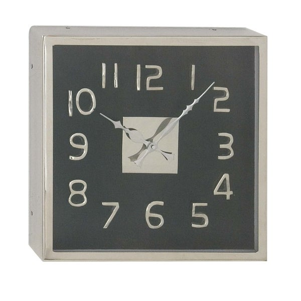 12 Inch Modern Square Black Stainless Steel Wall Clock