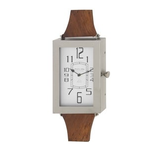 Contemporary Wood and Stainless Steel Wrist Watch Wall Clock