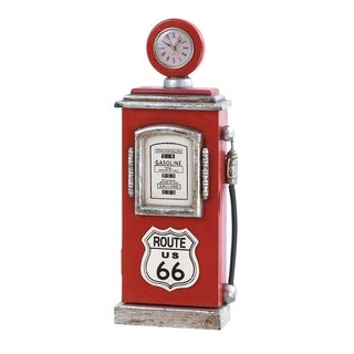 Traditional Wooden Red Gasoline Pump Clock