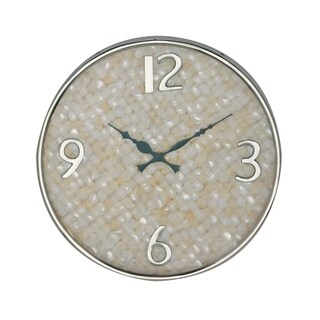 14 inch Modern Round Shell-Inlaid Stainless Steel Wall Clock