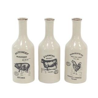 Set of 3 Farmhouse Ceramic Bud 14 X 5 inch Vases