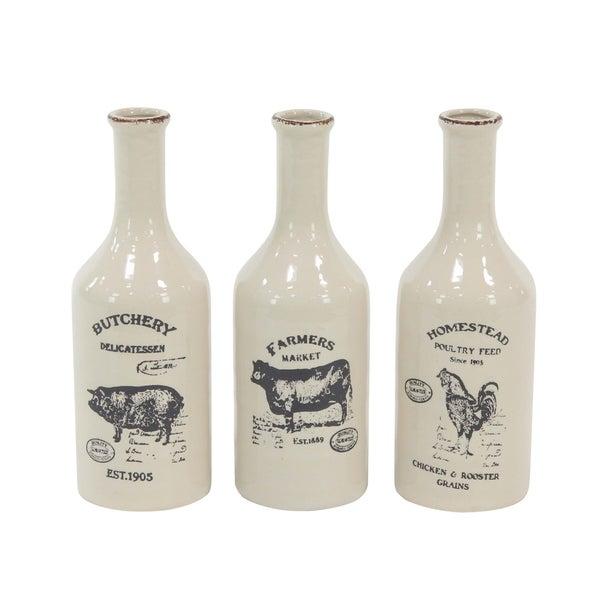 The Gray Barn Jartop 14-in. Farmhouse Ceramic Bud Vases (Set of 3)