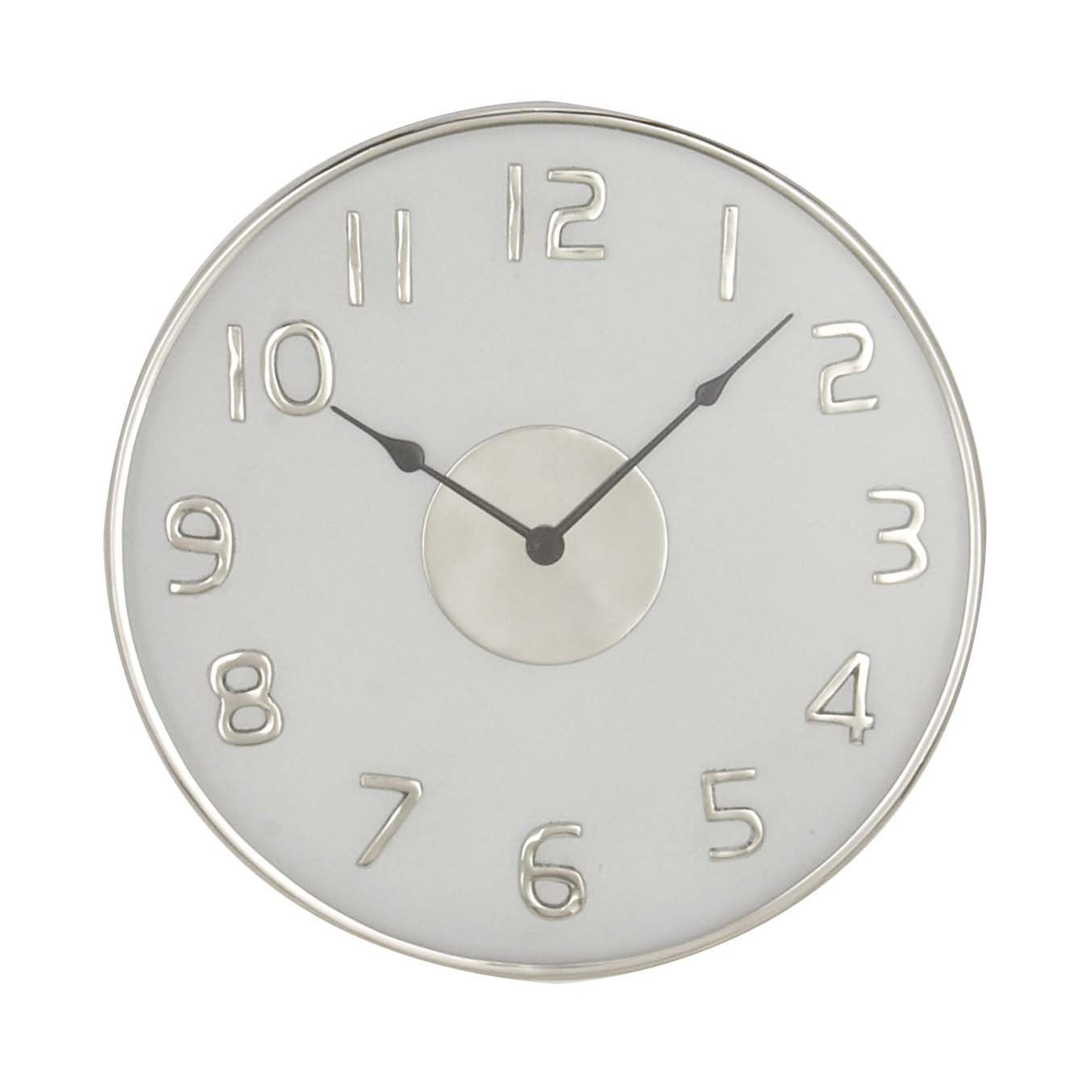 18 Inch Modern Round White Stainless Steel Wall Clock