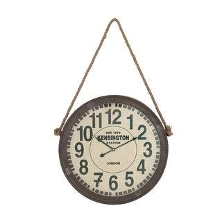 The Gray Barn Jartop Rustic Wood and Iron Roped Kensington Wall Clock
