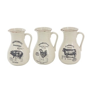 Set of 3 Farmhouse 10 inch Pitcher Vases with Barn Animal Prints