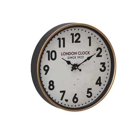 Copper Grove Artlish 16 inch Contemporary Iron London-Inspired Round Wall Clock
