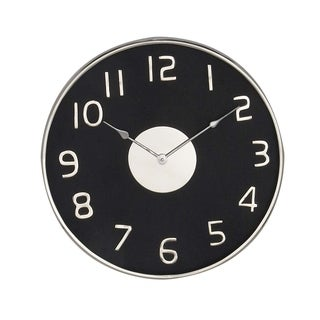 Modern Iron and Pine Wood Round Black Wall Clock