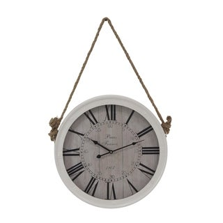 Shop Rustic Wood And Iron Round Paris Wall Clock Free