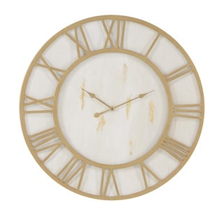 Silver Orchid Grant Rustic Iron and Wood Round Framed Wall Clock