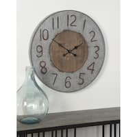 Rustic Round Wood and Iron Analog Wall Clock