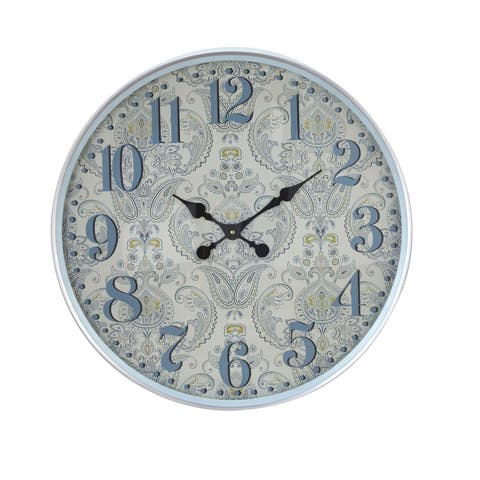 Copper Grove Iris 23 Inch Traditional Iron Flourish-designed Round Wall Clock