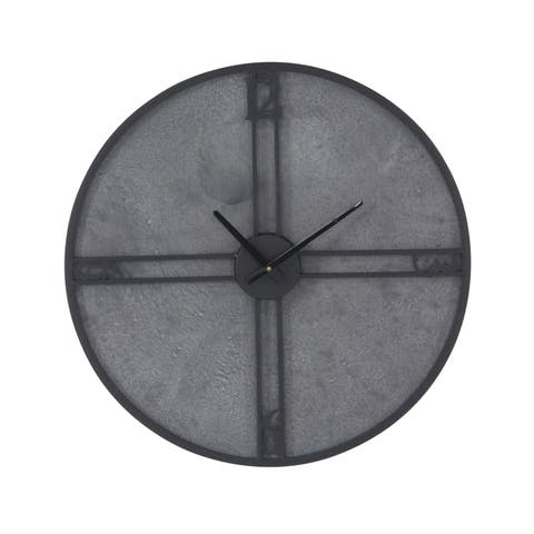 Carbon Loft Maunchly 24-inch Modern Iron and Wood Round Framed Wall Clock