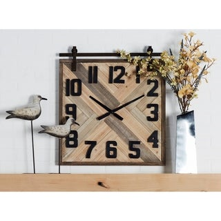Modern Wood and Iron Square Analog Wall Clock