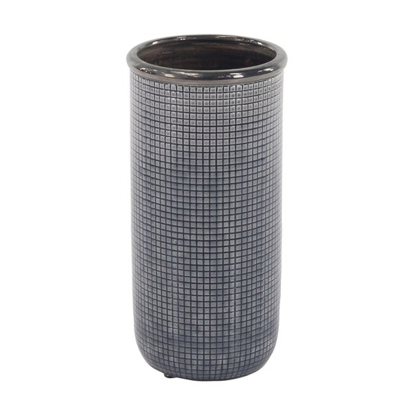 The Curated Nomad Mendota 16 inch Contemporary Ceramic Blue and Black Mesh-Inspired Vase
