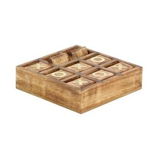 2 X 8 inch Rustic Mango Wood and Brass Tic Tac Toe Decorative Box