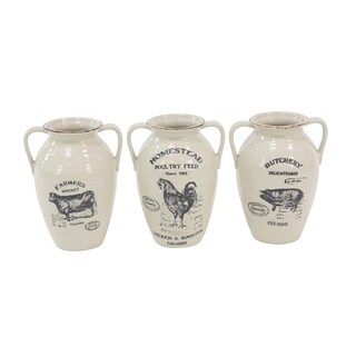The Gray Barn Jartop Set of 3 Farmhouse Ceramic Amphora 10-inch Vases with Animal Prints