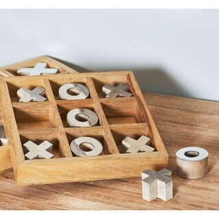 1 X 8 inch Rustic Mango Wood and Aluminum Tic Tac Toe Decorative Box