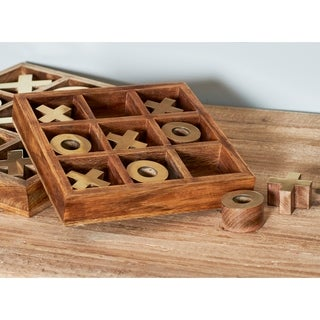 2 X 8 inch Rustic Mango Wood and Aluminum Tic Tac Toe Decorative Box