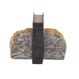 Pair of Rustic Polystone Gray and Brown Domed Rock Bookends