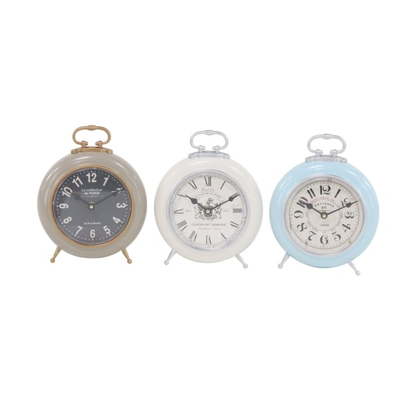 Set Of 3 Contemporary Colored Iron Round Decorative Table Clocks