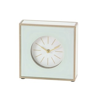 Modern Wood and Glass Square White Table Clock