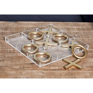 Modern Acrylic and Iron Gold Tic Tac Toe Decor