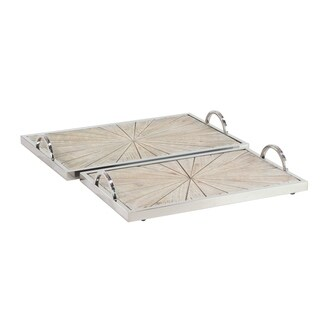 Set of 2 Contemporary Pine Wood and Stainless Steel Burst Trays