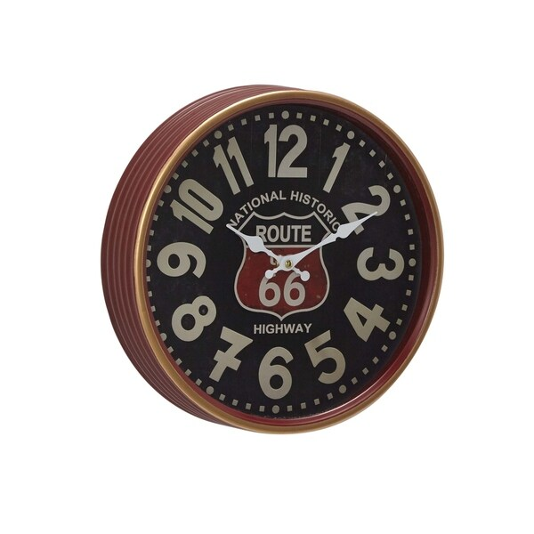 Carbon Loft Maunchly 12 inch Contemporary Iron Route 66 Round Wall Clock