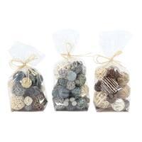 Havenside Home Buckroe 3-piece Coastal Blue, Brown and White Sola Balls Decorative Bags