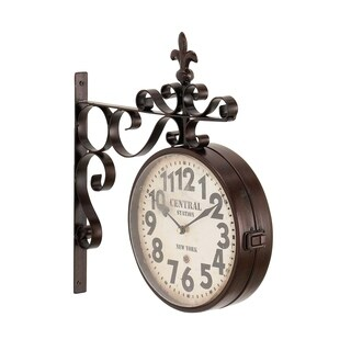 Rustic Iron Central Station Vintage Double Sided Wall Clock