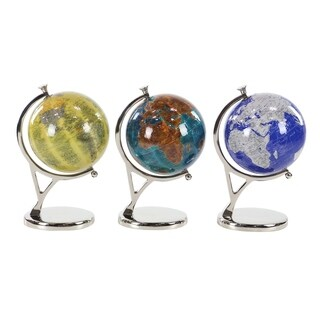 Set of 3 Contemporary Pop Art Resin Globes with Aluminum Stand