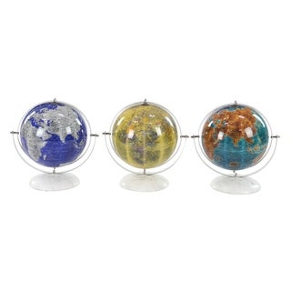 Set of 3 Modern Stainless Steel and Marble Pop Art 11 inch Globes