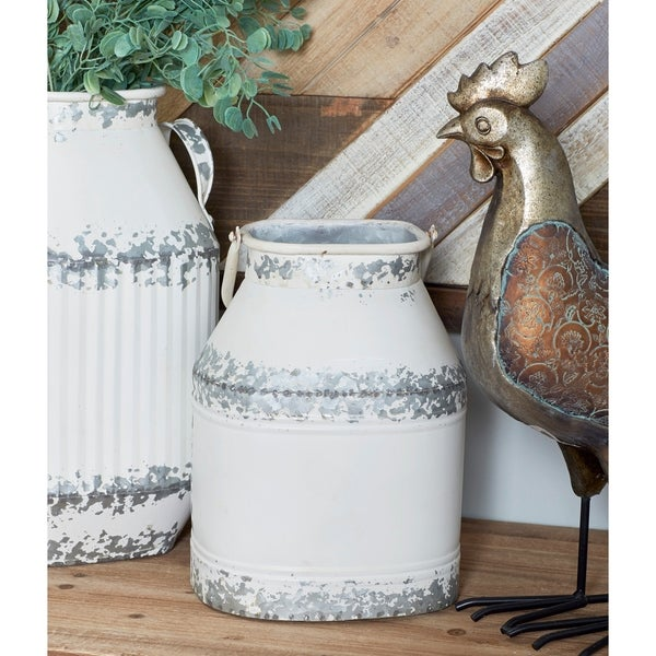 Set of 2 Farmhouse Square White Iron Milk Can Decor