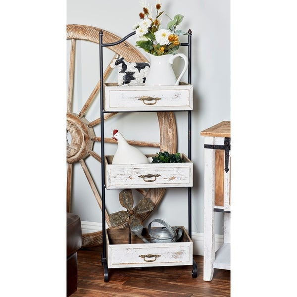 Rustic Iron and Wood 3-Tier Tray Stand