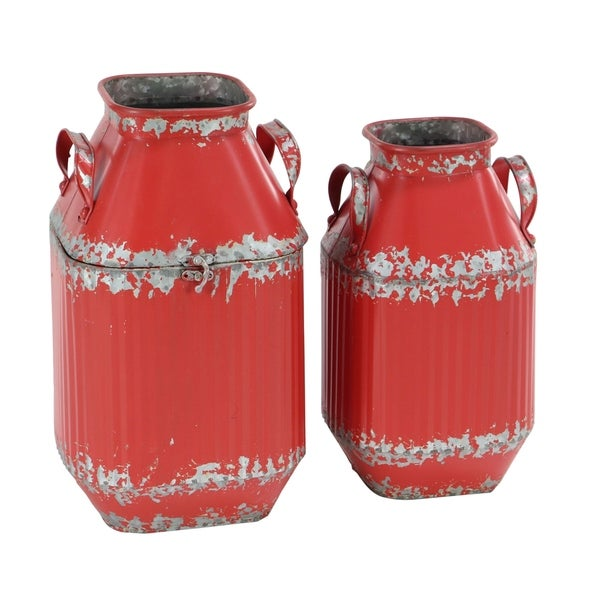 Set of 2 Farmhouse Tapered Red Iron Milk Can Decor