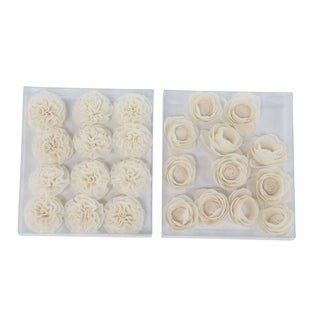 The Curated Nomad Lamartine Set of 2 Boxed Natural White Peony And Ranunculus Sola Flowers