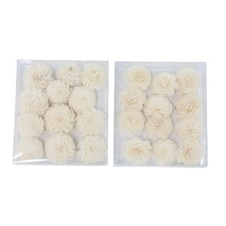 The Curated Nomad Lamartine Set of 2 Boxed Natural White Carnation Sola Flowers