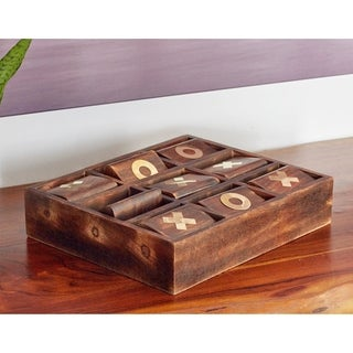 Rustic Mango Wood and Brass Rectangular Brown Tic-Tac-Toe Decor