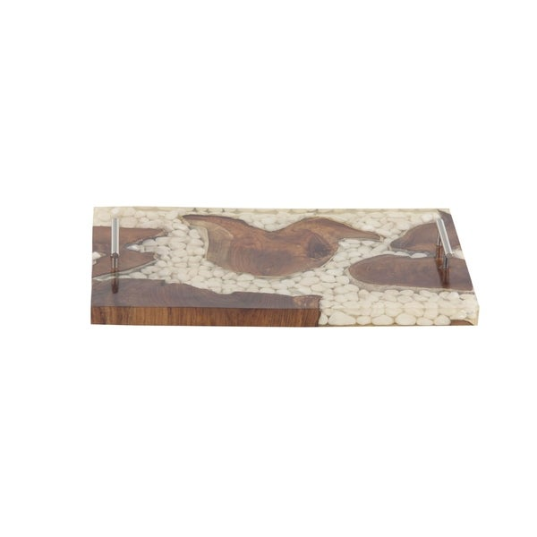 5d0a8da000 Shop Modern Resin Stone Design Wooden Tray - Free Shipping Today ...